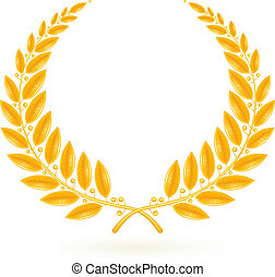 laurbær, vektor, krans, guld