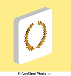 Laureate Wreath Simple vector icon. Illustration symbol design template for web mobile UI element. Perfect color isometric pictogram on 3d white square. Laureate Wreath icons for business project.
