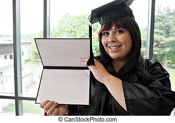 laureato, con, lei, diploma
