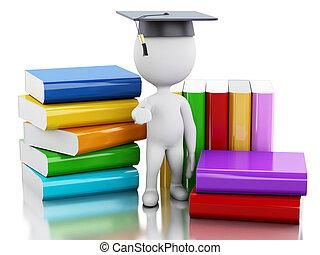 laureato, persone, books., 3d, bianco