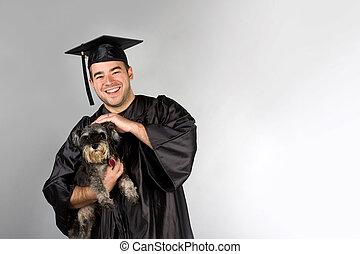 laureato, presa a terra, cane