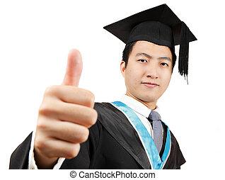laureato, studente, con, pollice