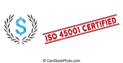 Laurel Bank Emblem Mosaic and Scratched ISO 45001 Certified Stamp with Lines