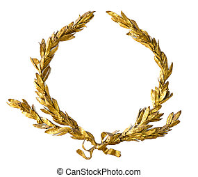 laurel, branca, grinalda, isolado, ouro
