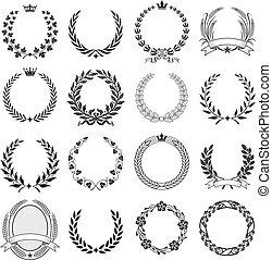 laurel, ceremonial, guirnalda, redondo, frames.