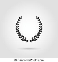 laurel, circular, silueta, foliate, negro