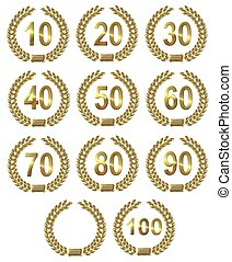 laurel guirlandes, set, gouden