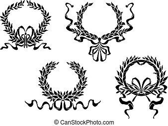 laurel, heráldico, coronas, cintas