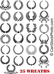 laurel, heráldico, coronas, conjunto