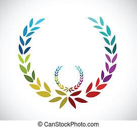 laurel, hojas, diseño, ilustración