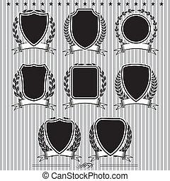 laurel, protectores, coronas, cintas