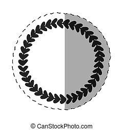 laurel round label decoration thin line