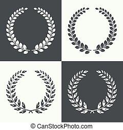 laurel, vector, wreath., circular