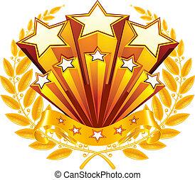 laurel, vetorial, emblema