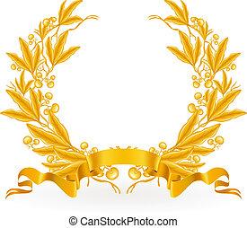 laurel, vetorial, grinalda, ouro