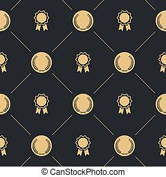 Laurel wreath and badge seamless pattern