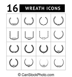 Laurel wreath and modern frames icon set isolated on white