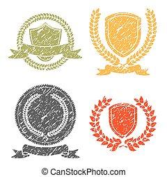 Laurel Wreath And Shields Grunge Stamps Set