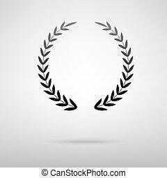 Laurel wreath black icon.