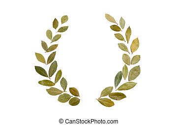 different laurel leaves arranged as a wreath