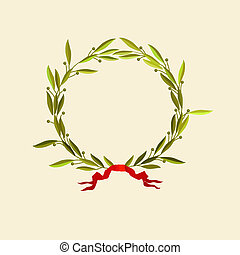 laurel wreath - Vector illustration - laurel wreath with red...