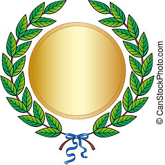 Green laurel wreath with medal and blue ribbon