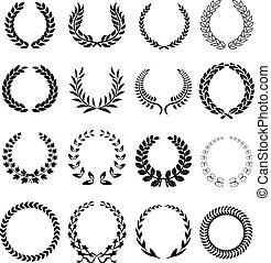 laurel wreath icons set