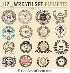 Laurel wreath set. Design elements