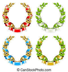 Set of laurel wreaths with ribbon on the white background