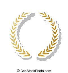 Laurel Wreath sign. Vector. Golden gradient icon with white cont