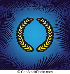 Laurel Wreath sign. Vector. Golden icon with black contour at bl