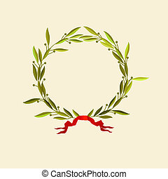 laurel wreath with red ribbon