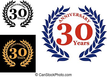 Laurel wreath with 30 years anniversary isolated on white...