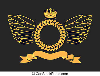 Laurel Wreath With Crown And Wings