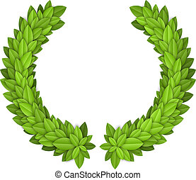 Laurel wreath with green leaves. EPS10 vector.