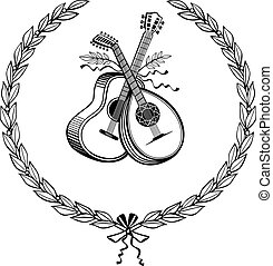 Laurel wreath with instruments - Laurel wreath with guitar...