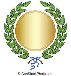 Laurel wreath with medal and blue ribbon - Green laurel...