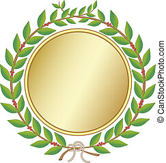 Laurel wreath with golden medal and a rope knot