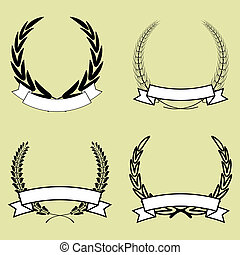 set of laurel wreath with ribbon vector isolated