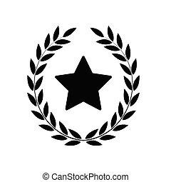Laurel wreath with star icon, emblem