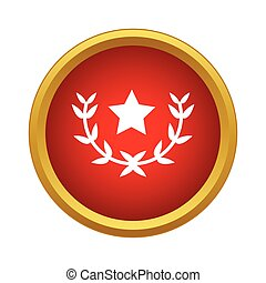 Laurel wreath with star icon, simple style