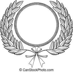 Laurel wreath woodcut