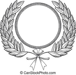 Laurel wreath woodcut - Laurel wreath with medal and bow -...