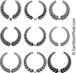 Laurel wreathe set in black for heraldry design. Vector illustration