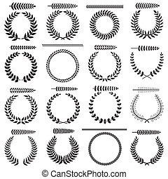 Laurel wreaths collection - Set of silhouettes of laurel...