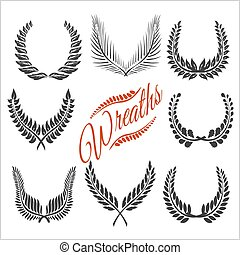 Laurel wreaths vector set - Laurel wreaths - wreaths of...