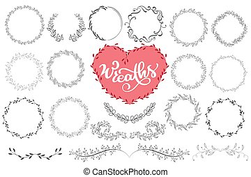 Laurels and wreaths hand drawn vector illustration. Design elements for invitations, greeting cards, quotes, blogs, posters and more, holiday invitations, photo overlays, t-shirt print, flyer,, mug, pillow. Perfect For Wedding Frames.