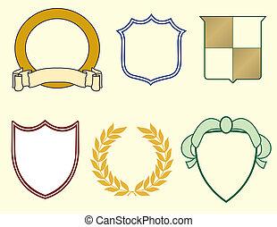 laurels, boucliers, logos