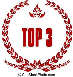 laurels, cima, badge., 3, rosso
