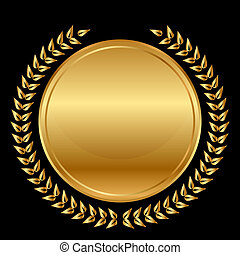 laurels, medal, czarnoskóry, złoty